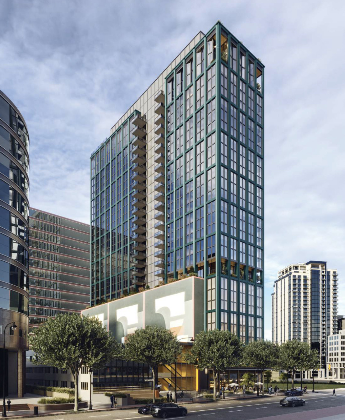 Another rendering shows a different angle of the high-rise development.