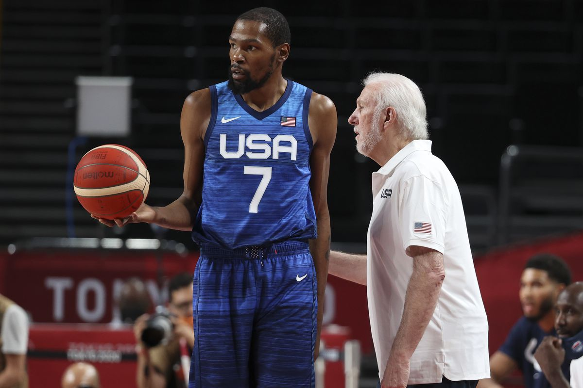 Coach of USA Gregg Popovich, Kevin Durant of USA during the Men's Preliminary Round Group B basketball game between United States and France on day two of the Tokyo 2020 Olympic Games at Saitama Super Arena on July 25, 2021 in Saitama, Japan