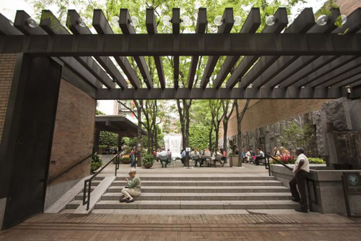 Greenacre Park, at 53rd Street off of Third Avenue.