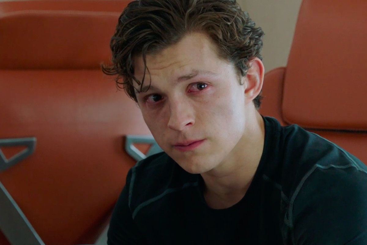 peter parker cries aboard happy hogan's jet in spider-man: far from home