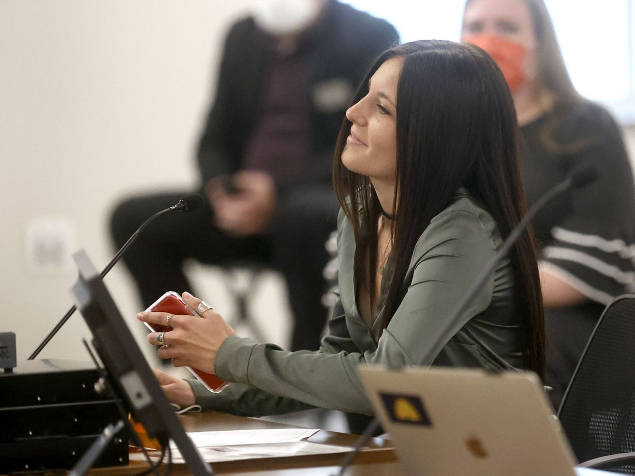 Alison Pray, a Southern Utah University track and cross-country athlete, speaks in support of HB302 during a House Education Committee meeting at the State Office Building in Salt Lake City on Thursday, Feb. 11, 2021. The bill would bar transgender athletes at public schools to participate in girls sports.
