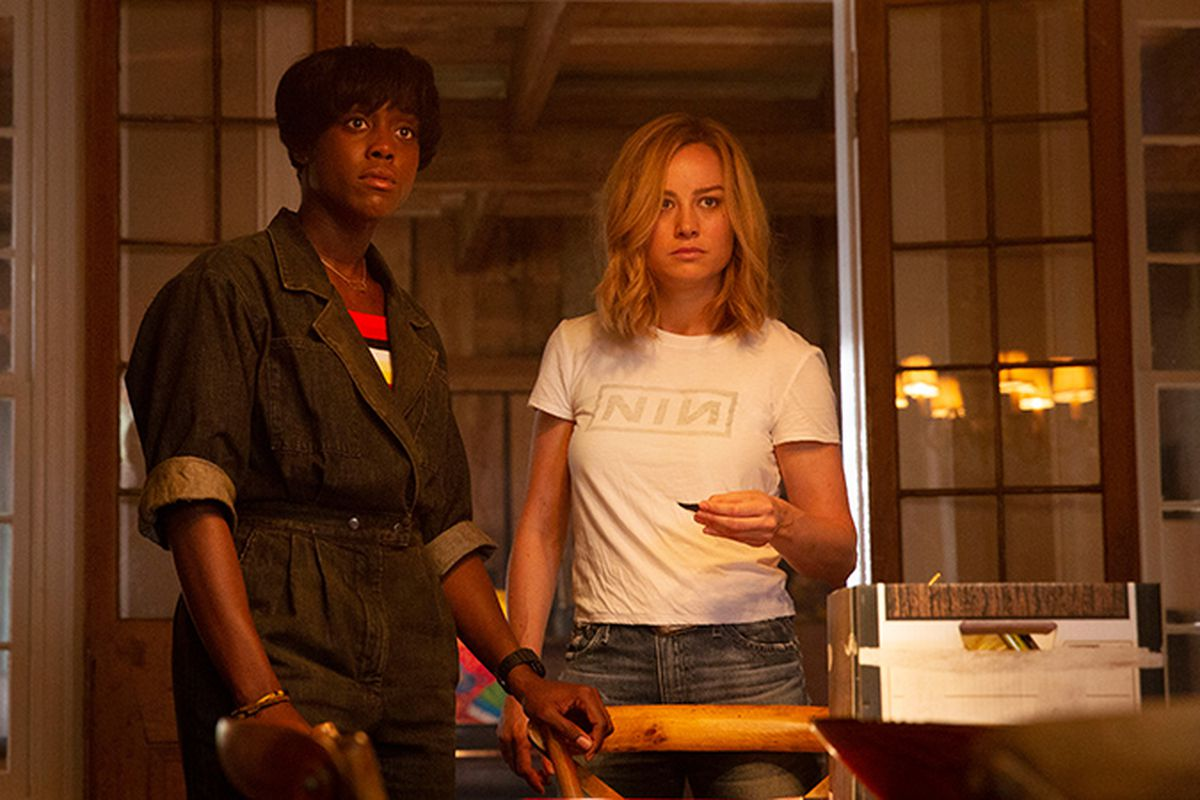 3d0cc660bde Brie Larson (right) as Carol Danvers and Lashana Lynch as Maria Rambeau in  Captain Marvel. Marvel Studios
