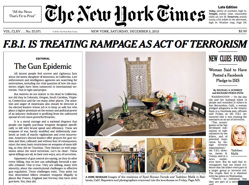 The top half of the Times' front page