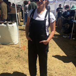 Allison Altschuler wore Lily Ashwell's linen overalls and some freshly-purchased Androgyny Design jewels.