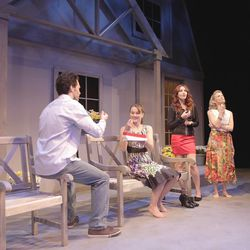 """Family members (from left, Jesse Peery, Amanda Mahoney, Deena Marie Manzanares and Joyce Cohen) wonder how a father who has distanced himself will return in the comedy-drama """"(a man enters),"""" at the Salt Lake Acting Company through Dec. 4."""
