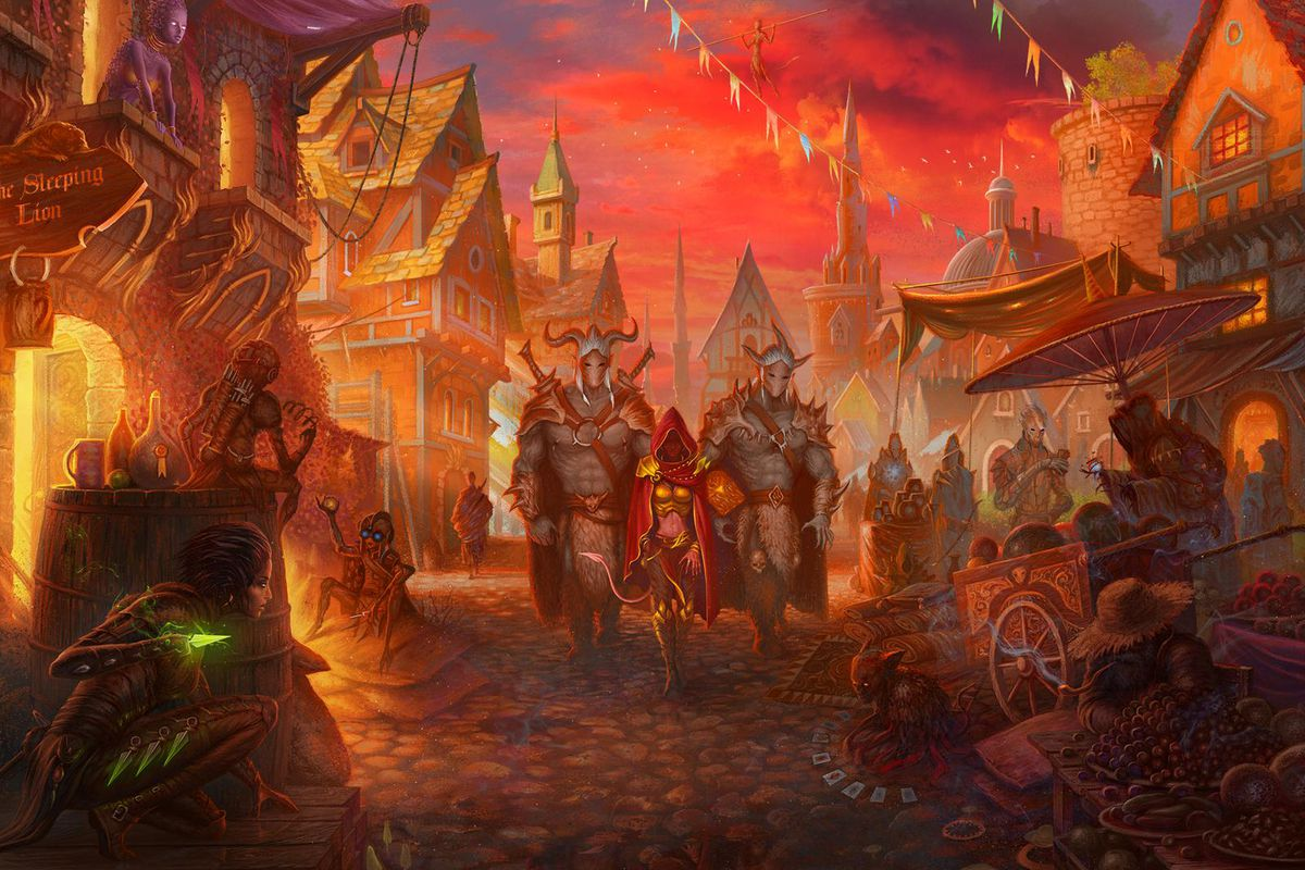 Heroes walk down a crowded street in the cover art for Gloomhaven.