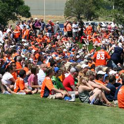 Fans focused on watching the on field action of day two of Denver Broncos training camp.