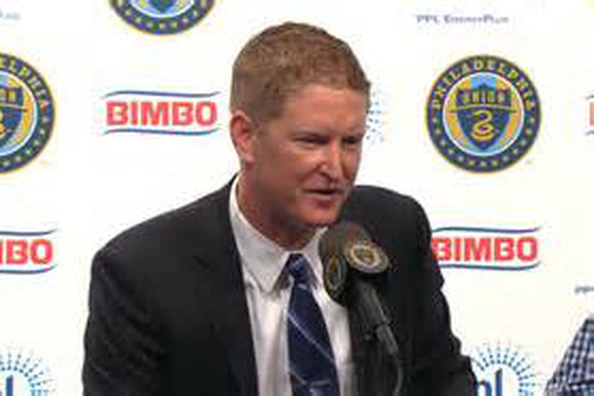 The Philadelphia Union's Jim Curtin holding a press conference