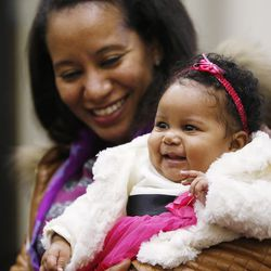 Amina Ait Omar holds her baby, Aisha, while meeting with Sen. Orrin Hatch in Salt Lake City on Feb. 18, 2016. Hatch helped resolve a visa issue allowing her to join her husband in the United States. Ait Omar was living in her native Morocco and experiencing complications with her pregnancy, when Hatch stepped in to help.