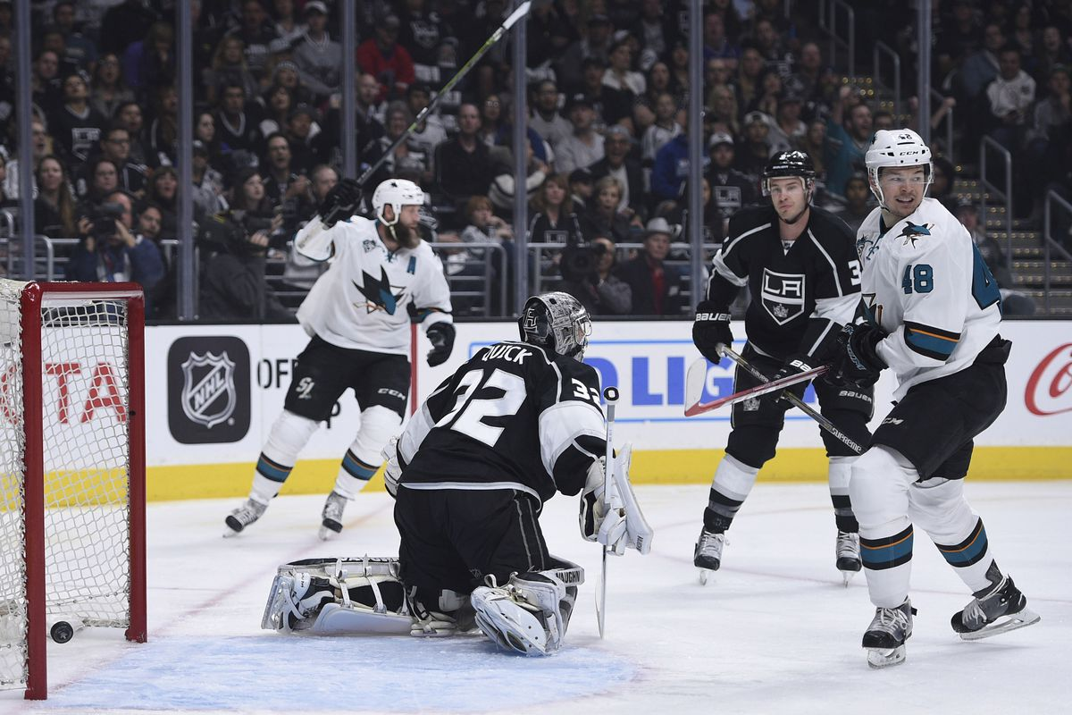 Jonathan Quick is beaten for a goal by Joe Pavelski (not in picture)