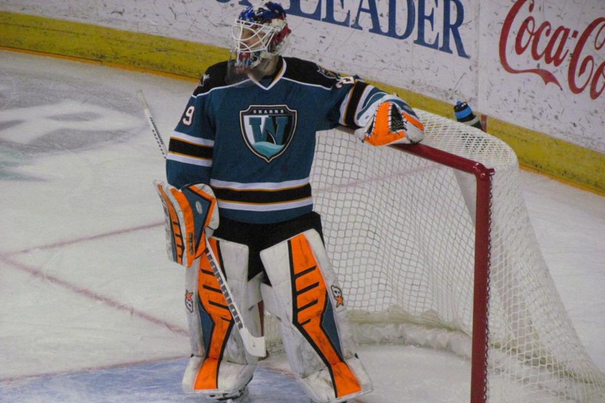Worcester Sharks goaltender Aaron Dell made 30 saves in the Sharks' 2-0 loss to the Manchester Monarchs at the Verizon Wireless Arena Sunday afternoon (Twitter.com/astoldbygingrr_).