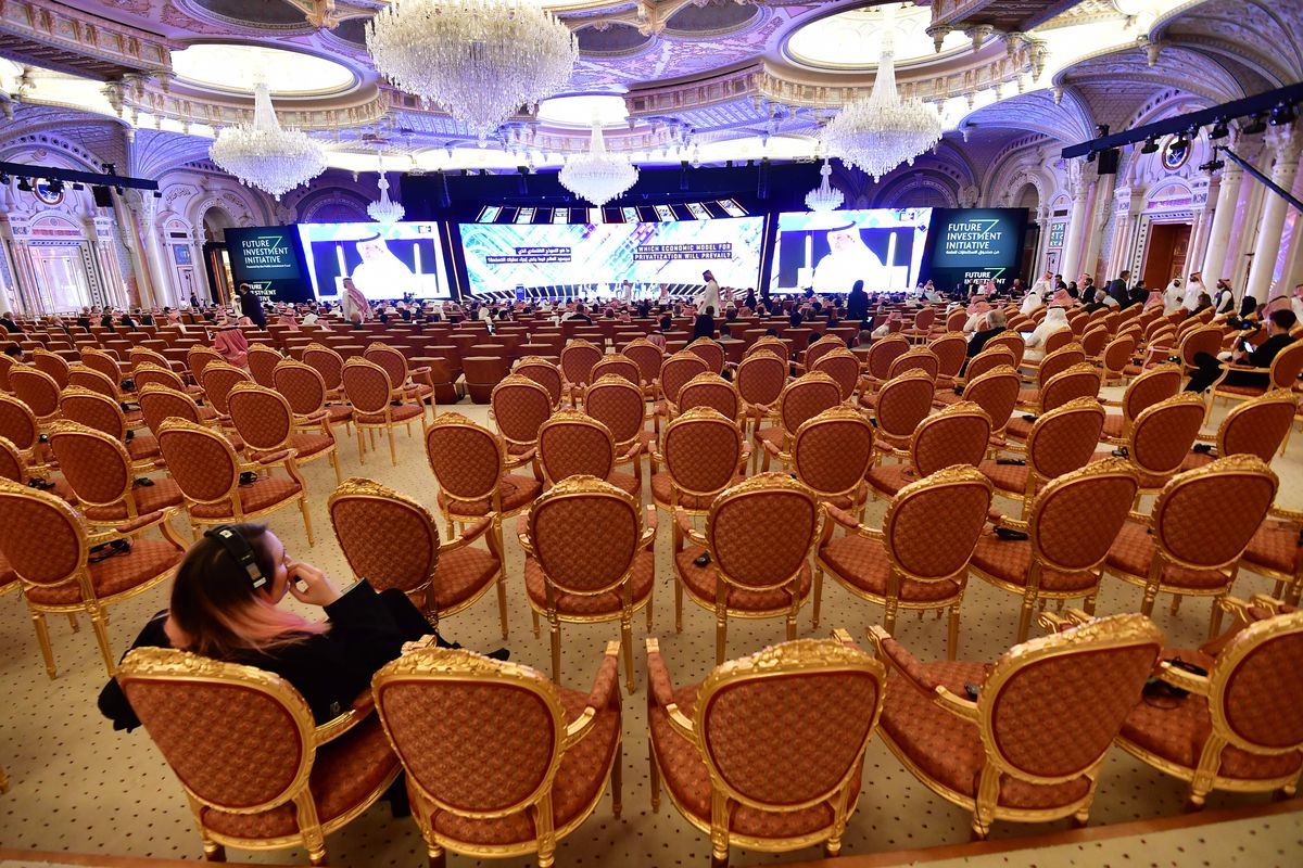 Empty chairs in a ballroom at the Saudi investment conference last year.