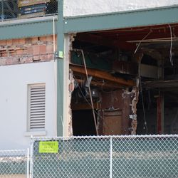 9:51 a.m. Area above the ticket windows, where the demolition work has stopped -