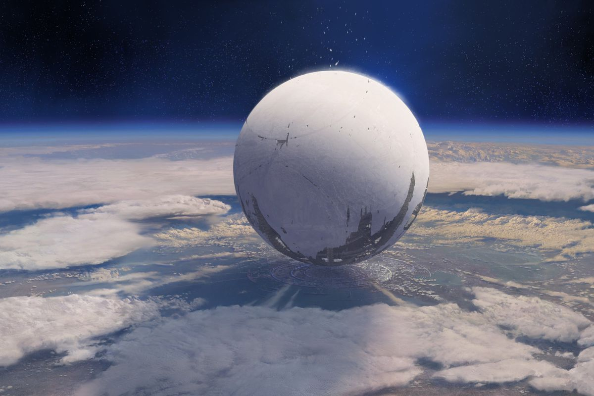 Destiny - concept art of the Traveler hovering over the Last City, seen from space