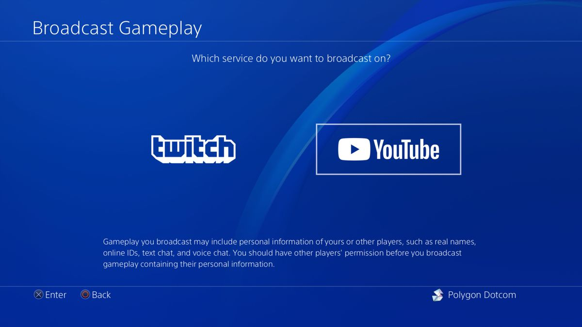 "The PS4's ""broadcast gameplay"" screen"