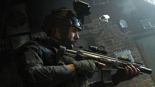 Captain Price, in military gear with a helmet cam, holding an assault rifle in Call of Duty: Modern Warfare