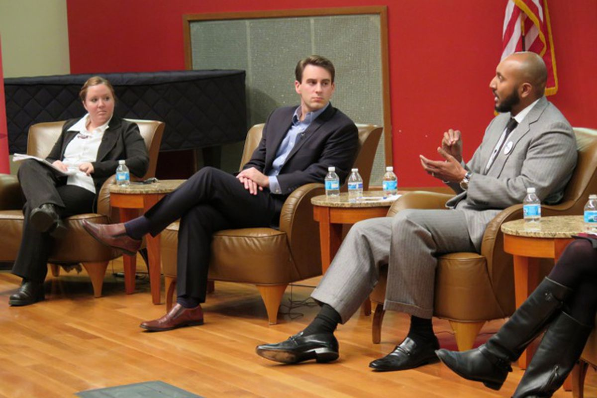 Annie Roof, Josh Owens, and David Hampton discuss IPS issues at Chalkbeat and WFYI's election forum.