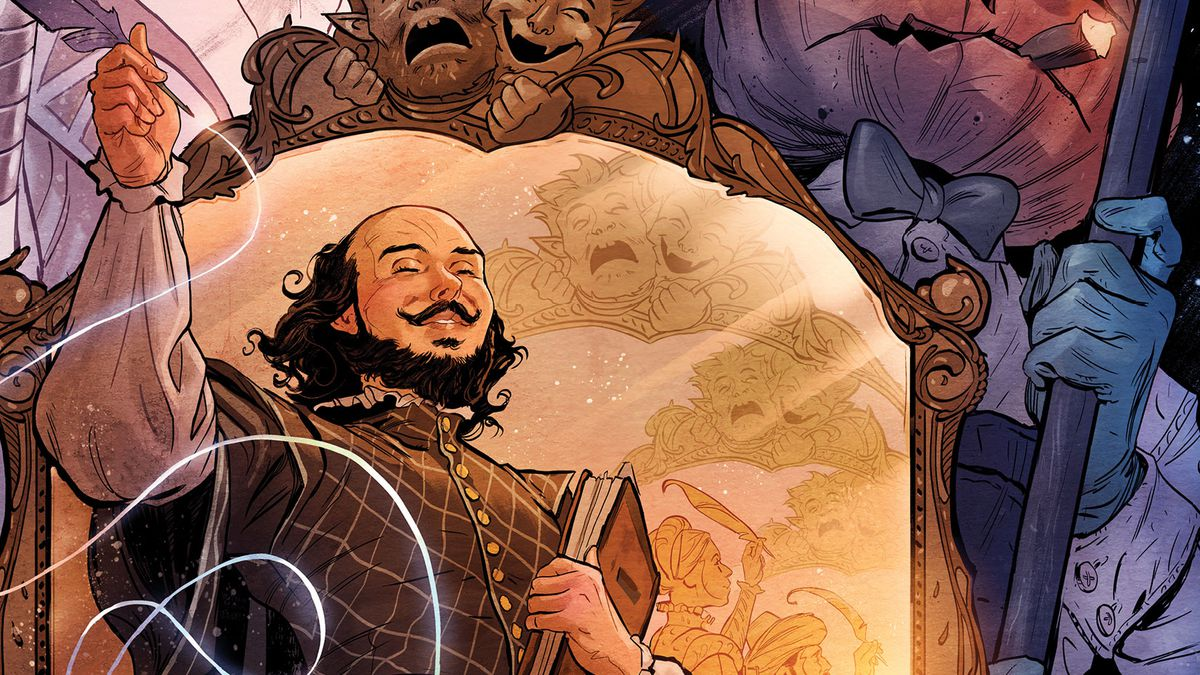 William Shakespeare gestures with his quill in front of a mirror, in the background stand denizens of the Dreaming and the Dreamlord himself, on the cover of The Dreaming: Waking Hours #1, DC Comics (2020).