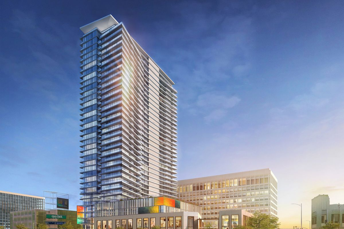 A rendering of a glassy 36-story mixed-use tower set to rise on Wilshire Boulevard between Serrano and Oxford.