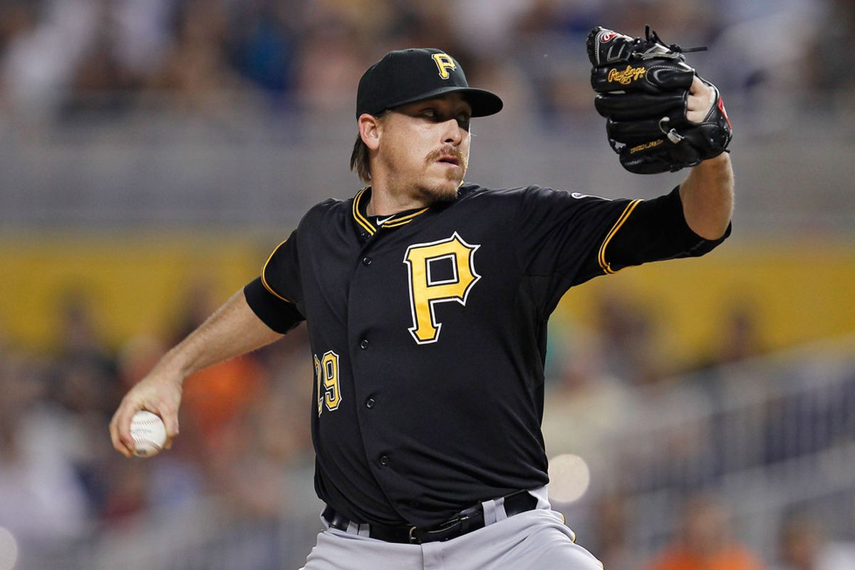 MIAMI, FL - MAY 15:  Kevin Correia #29 of the Pittsburgh Pirates pitches during a game against the Miami Marlins at Marlins Park on May 15, 2012 in Miami, Florida.  (Photo by Sarah Glenn/Getty Images)