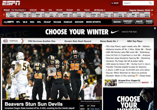 ESPN front page after OSU defeats ASU