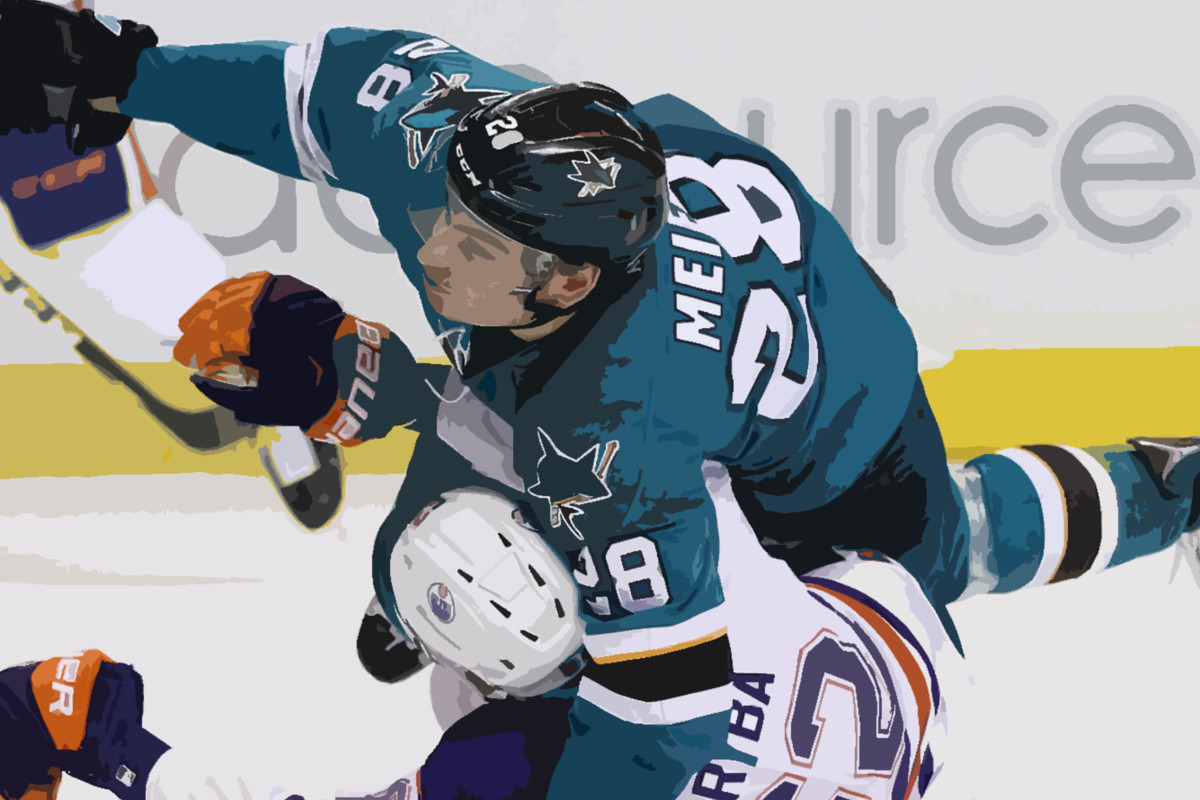 0d3d7328c Getty Images Fear the Fin illustration by JD Young. As Timo Meier collected  the puck ...