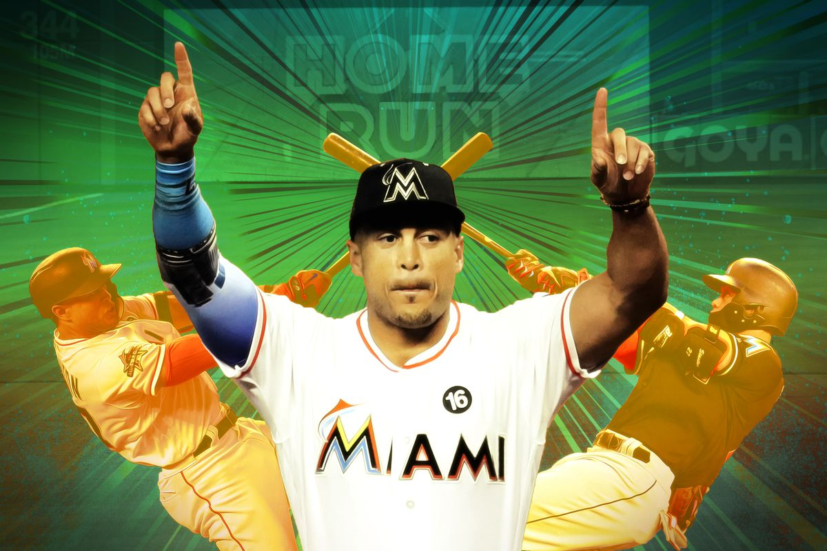 Miami Marlin Giancarlo Stanton pointing toward the sky with both hands