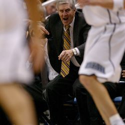 Utah Jazz coach Jerry Sloan gives instructions to his team during a home game against the Dallas Mavericks Dec. 11, 2006, in Salt Lake City.