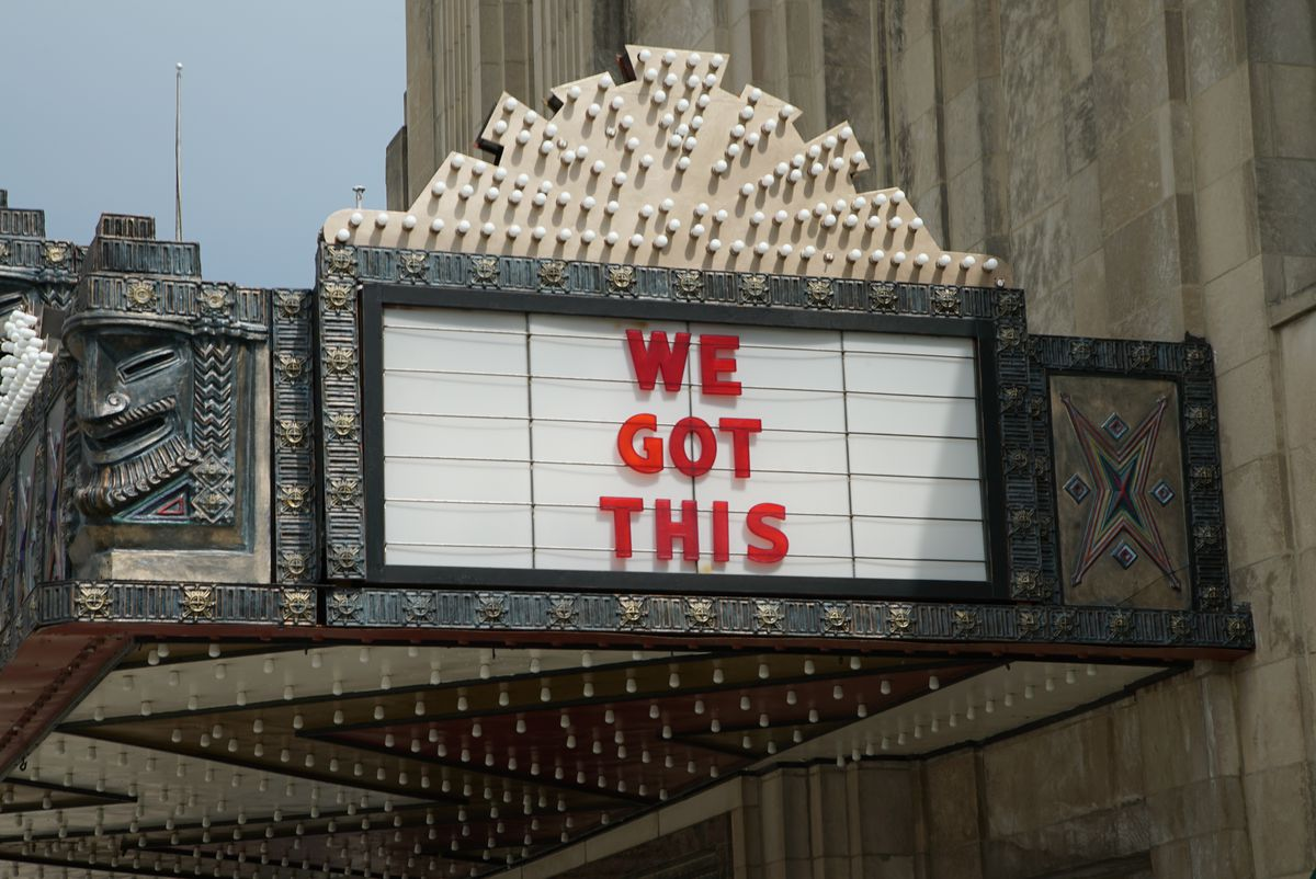 The Pickwick Theatre marquee has some inspirational messages displayed during the coronavirus pandemic.
