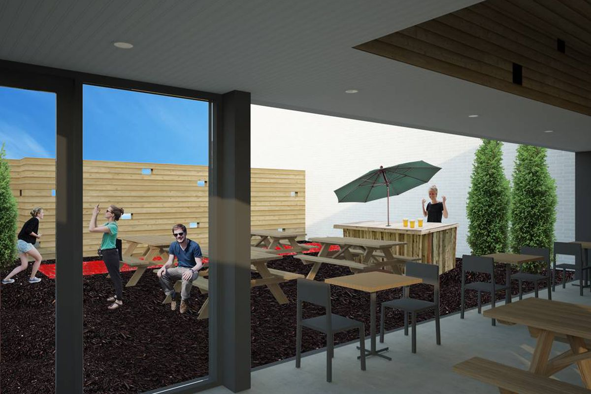 A rendering of the patio at Saint Lou's Assembly