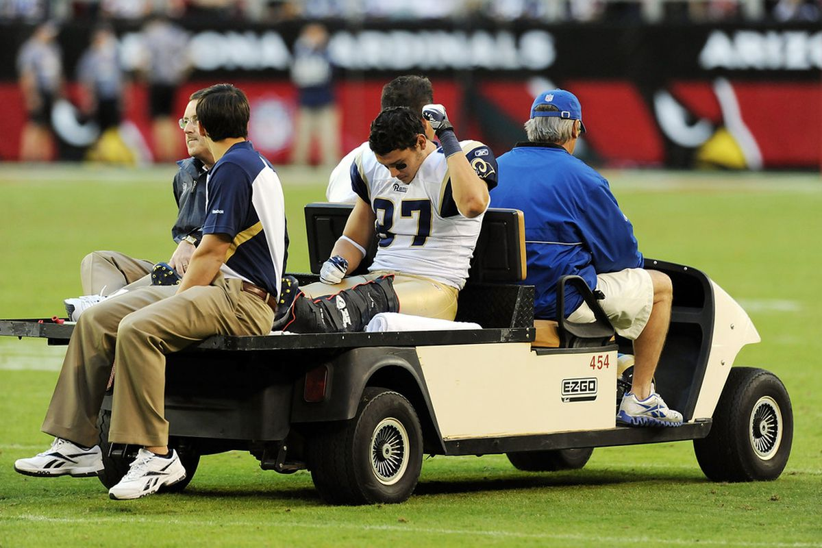 GLENDALE, AZ - NOVEMBER 06:  Greg Salas #87 of the St Louis Rams is carted off the field in the second half against the Arizona Cardinals at University of Phoenix Stadium on November 6, 2011 in Glendale, Arizona.  (Photo by Norm Hall/Getty Images)