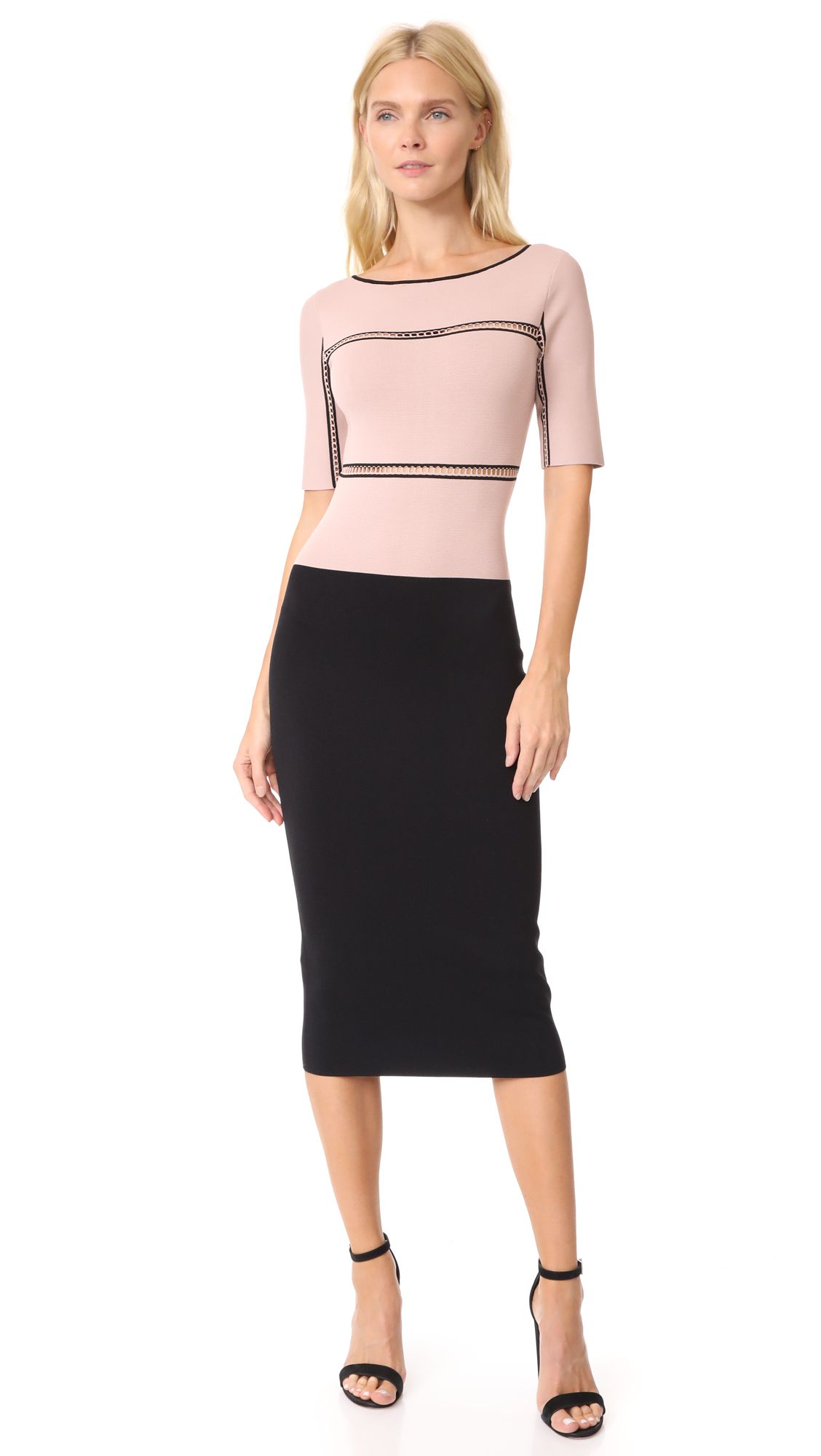A pink and black stretch dress