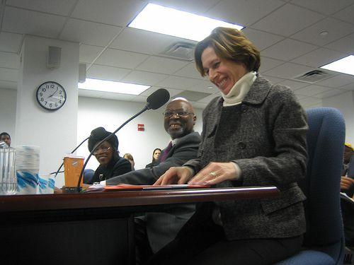Randi Weingarten testifying at a mayoral control hearing in February. (<em>GothamSchools</em>)