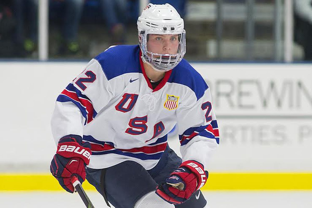 Boston University commit Kieffer Bellows scored twice and added an assist for the US Under-18 Team.