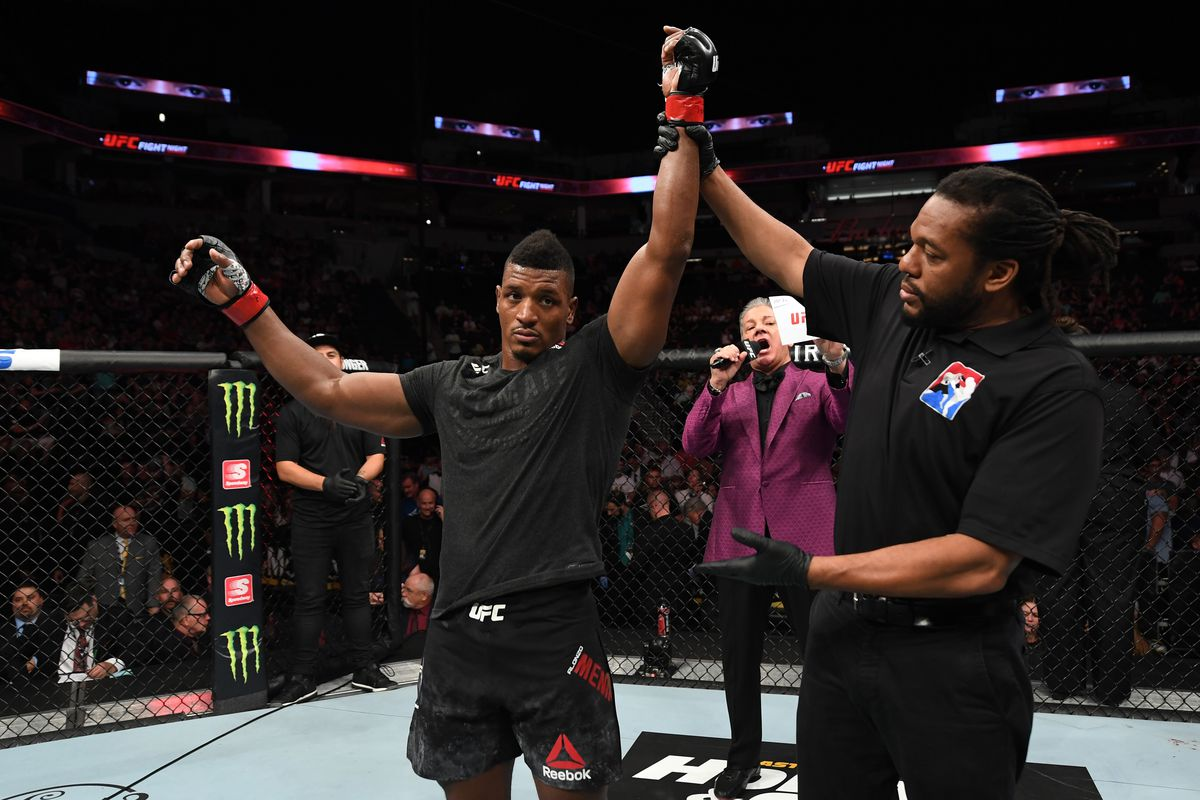 Alonzo Menifield reacts after defeating Paul Craig of Scotland in their light heavyweight bout during the UFC Fight Night event at the Target Center on June 29, 2019 in Minneapolis, Minnesota.