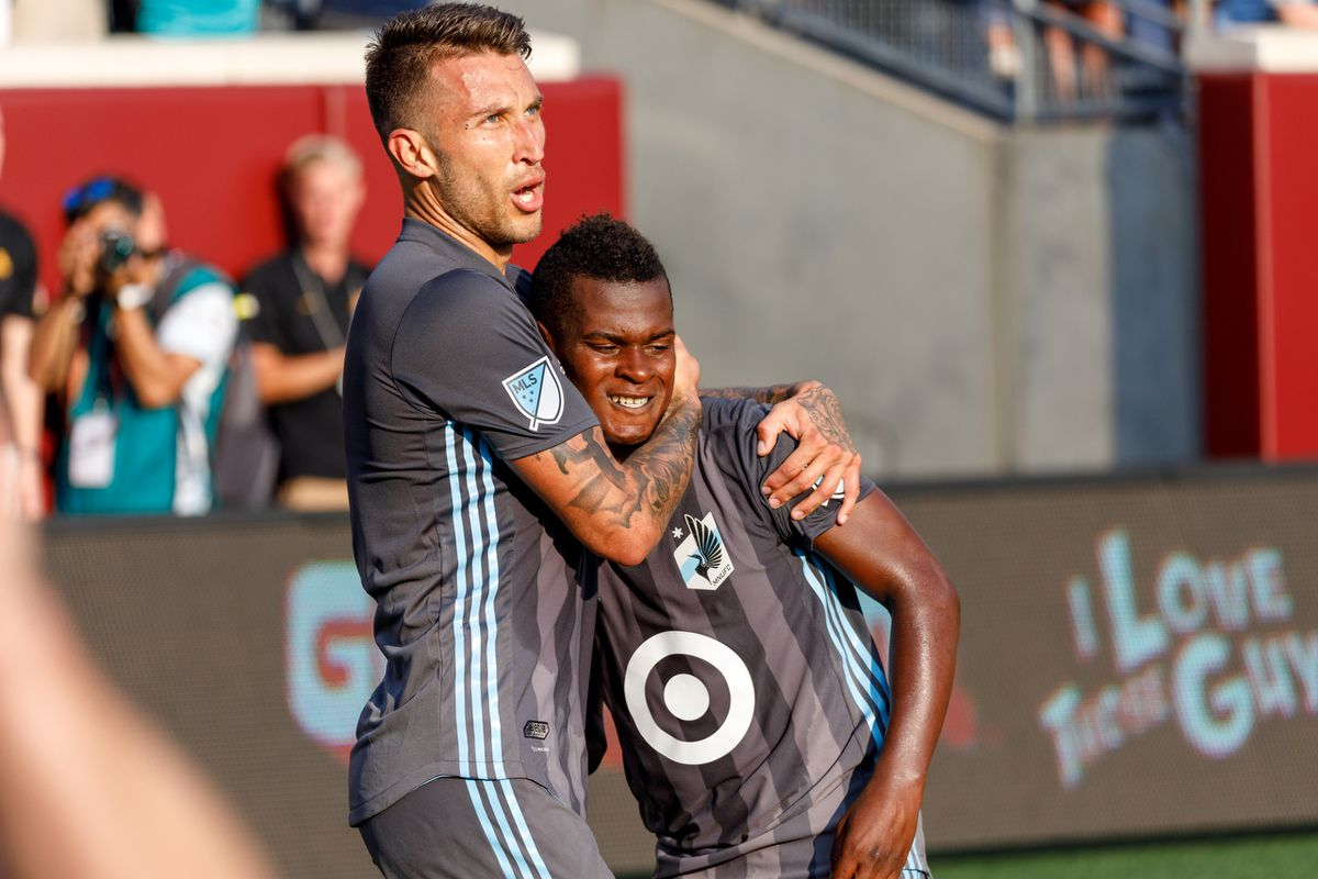 July 22, 2018 - Minneapolis, Minnesota, United States - Minnesota United defender Francisco Calvo (5) celebrates with Minnesota United forward Darwin Quintero (25) as the Loons go up 3-1 in stoppage time of the first half in the Minnesota United vs LAFC match at TCF Bank Stadium.   (Photo by Seth Steffenhagen/Steffenhagen Photography)
