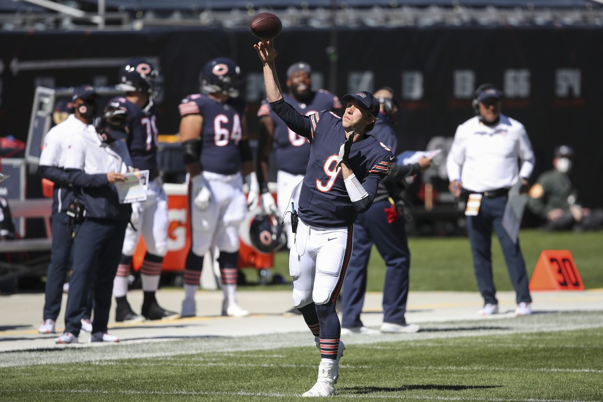 Bears quarterback Nick Foles warms up before last month's game against the Giants.