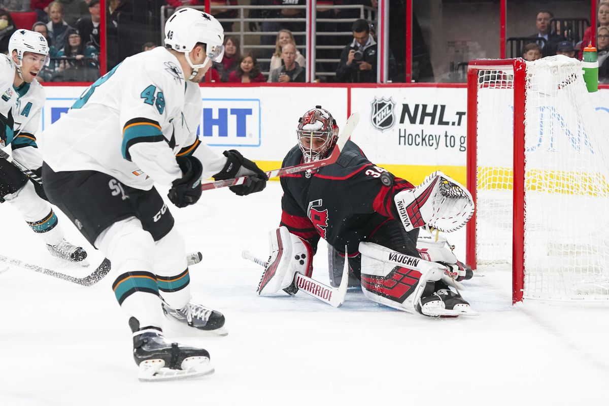 Oct 26, 2018; Raleigh, NC, USA; San Jose Sharks center Tomas Hertl (48) misses on his first period shot attempt against the Carolina Hurricanes goaltender Petr Mrazek (34) at PNC Arena.