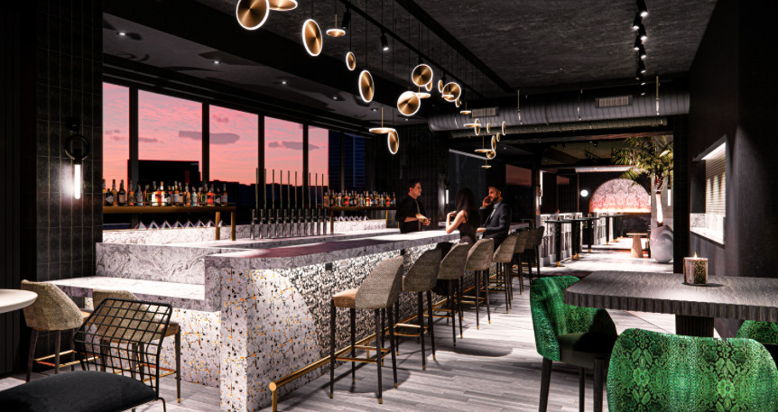 Rendering of the I|O Rooftop Lounge set to open at the Godfrey Hotel Detroit in Corktown.