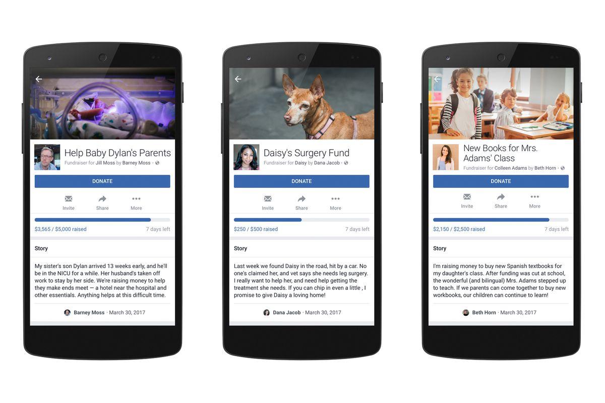 Facebook personal fundraiser feature