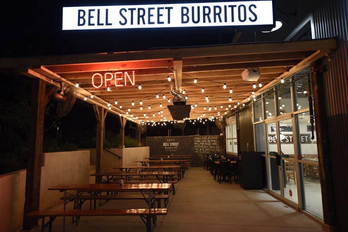 The exterior signage at Bell Street Burritos Inman Park.
