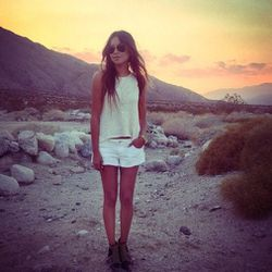 """Julie packed multiple cutoffs for this trip. Here she is wearing another pair from Guess. Photo via <a href=""""http://instagram.com/sincerelyjules"""">SincerelyJules</a>/Instagram."""