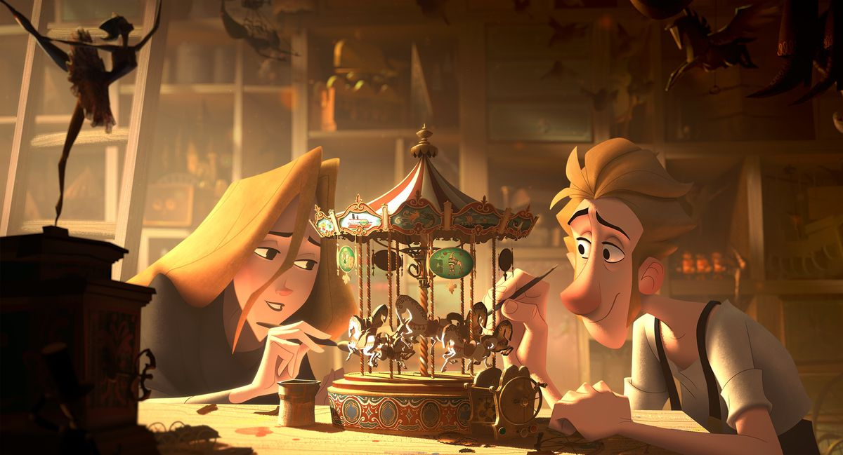 alva and jesper paint a toy carousel