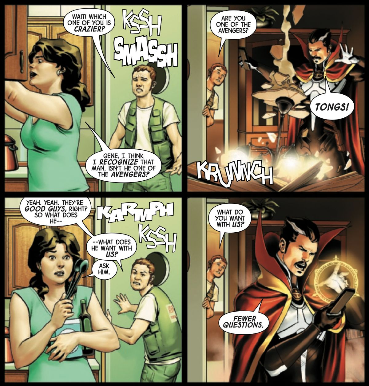Doctor Strange trashes the house of a very confused suburban couple, in Doctor Strange #18, Marvel Comics (2019).