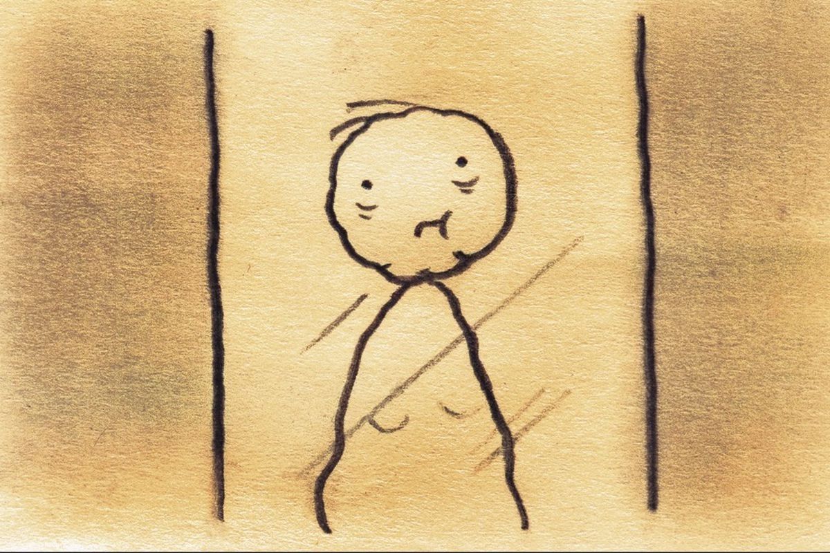 A stick figure drawing of an older person.
