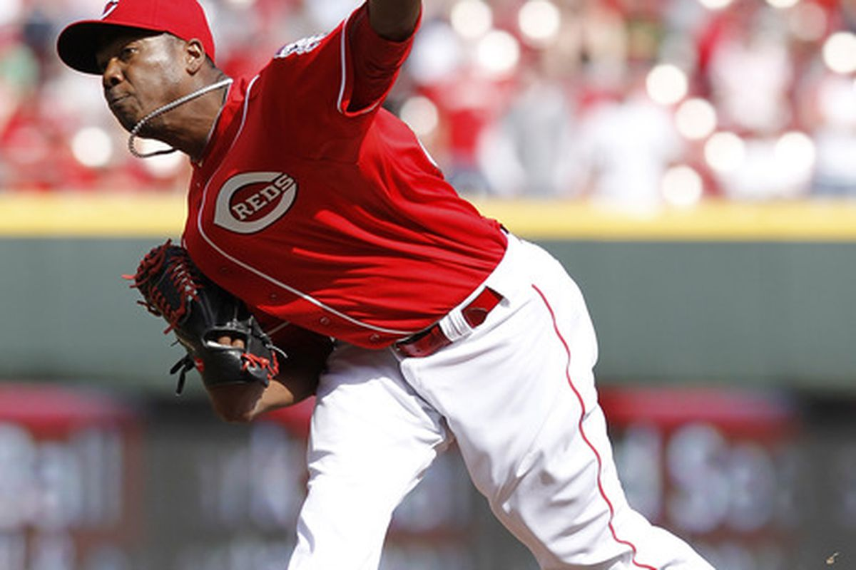 Aroldis Chapman and his triple digit velocity will provide the set up bullpen relief for the Reds. (Photo by Joe Robbins/Getty Images)