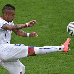 We sincerely hope <b>Arturo Vidal</b> of Chile did this to his head because it's scientifically proven to make him go faster. He probably shaves his arms too.