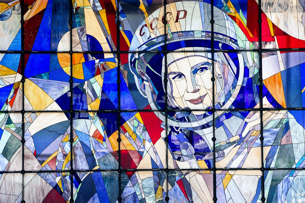 A stained-glass window with a portrait of Valentina Tereshkova, a Russian  cosmonaut and the first woman to fly in space. Shutterstock