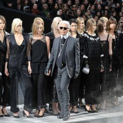 Karl Lagerfeld walks the runway during the Chanel Ready to Wear Autumn/Winter 2011/2012 show during Paris Fashion Week at Grand Palais on March 8, 2011 in Paris, France.