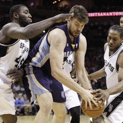Memphis Grizzlies' Marc Gasol, center, of Spain, is defended by San Antonio Spurs' DeJuan Blair, left, and  Kawhi Leonard, right, during the first quarter of an NBA basketball game on Thursday, April 12, 2012, in San Antonio.